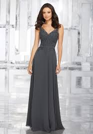 chiffon bridesmaids dress with embroidered beaded bodice style