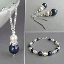 navy jewelry navy pearl and drop earrings king jewellery