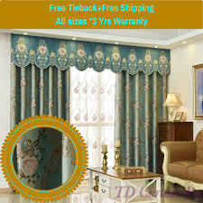 blockout blue bedroom net curtain fabric swag valance pelmet