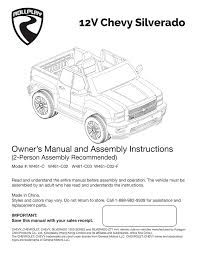 12v chevy silverado owner u0027s manual and assembly instructions 2