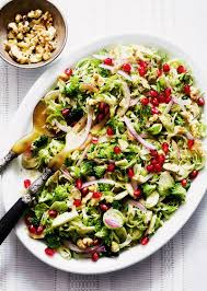 thanksgiving salad broccoli brussels sprout salad with honey dijon vinaigrette