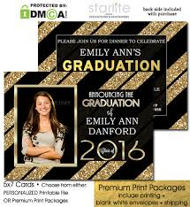graduation photo announcements black and gold glitter stripes graduation announcement invitation