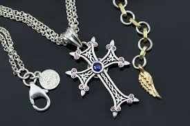 cross necklace pink images Apostolic cross pink coffee blue zircon silver necklace pt 155pcb jpg