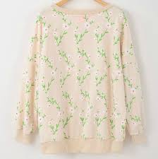 women floral sweaters new fall 2013 14 vintage printed beige