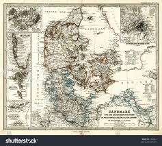 1875 antique map denmark greenland iceland stock illustration