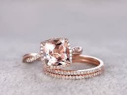 wedding set 2 4 carat cushion cut morganite gold wedding set diamond