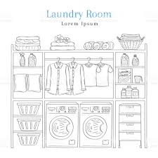 Laundry Room Hangers - laundry room interior with washing machine detergent laundry
