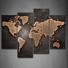 amazon com general world map black background wall art painting