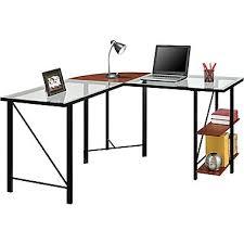 Glass L Shaped Computer Desk by Computer Desks Corner Desks Office Desks Staples