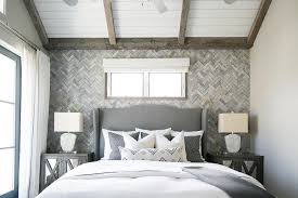 Headboards And Nightstands Gray Wingback Headboard With Gray Mirrored Nightstands
