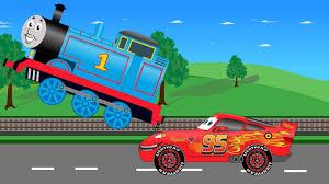 lightning mcqueen monster truck videos lightning mcqueen car vs thomas train video for kids youtube