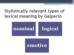 Types Meaning Stylistically Relevant Types Of Lexical Meaning By Galperin