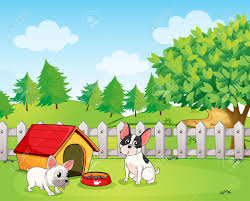 illustration of a backyard with two dogs royalty free cliparts
