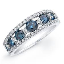 blue diamond wedding rings blue and white diamond wedding rings 14k white gold treated blue