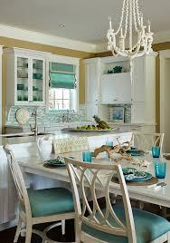 coastal white and turquoise kitchen t shaped kitchen island with