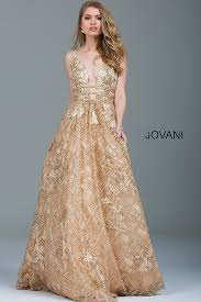 evening gown taupe lace embroidered and embellished a line evening gown