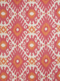 Upholstery Linen Fabric By The Yard Orange And Pink Linen Ikat Upholstery Fabric By The Yard Ikat