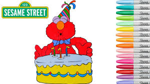 sesame street coloring book elmo colouring pages birthday cake