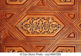 stock photographs of antique carved wooden ornament in alhambra