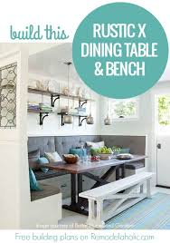 Rustic Farmhouse Dining Table With Bench Remodelaholic Rustic X Dining Table And Bench Building Plan
