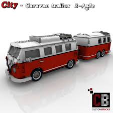 lego volkswagen t1 camper van custombricks de lego city trailer wohnwagen camper vw t1 bus 10220