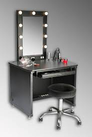 bathroom black makeup table with storeage drawer and lighted