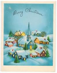 vintage christmas card walking to church snow made in usa small