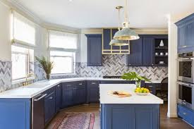 navy blue kitchen cabinets with brass hardware remodeling trends