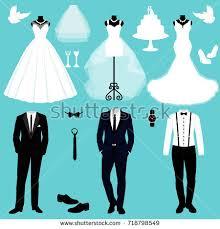 wedding clothes wedding card clothes groom wedding stock vector 718798549