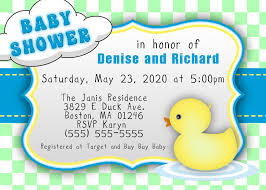 yellow duck baby shower invitations cards saflly free