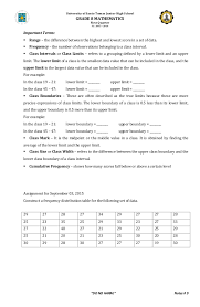 Frequency Distribution Table Frequency Distribution Table Handout
