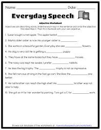 Free Adjective Worksheets Adjective Worksheet Everyday Speech Everyday Speech