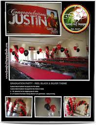 graduation balloon decorations red black u0026 silver theme