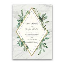 wedding invitations greenery marble wedding invitations with greenery eucalyptus gold accents