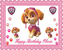 paw patrol skye 2 edible birthday cake cupcake topper u2013 edible