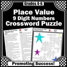 place value worksheet 5th grade math homework crossword puzzle tpt