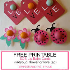 flower ladybug and love tag eos lip balm cards as digital download