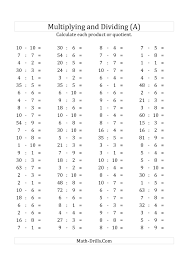 100 horizontal multiplication division questions facts 1 to 10