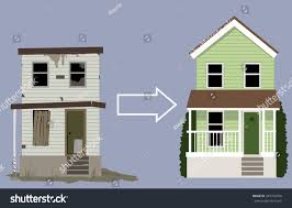 old rundown house turned into nice stock vector 343734560