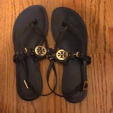 tory burch navy blue with gold hardware flat thong sandals size us