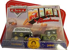 cars sarge and fillmore amazon com disney cars mini adventures radiator springs 2 pack