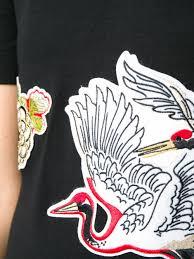 carven crane bird print shift dress in black lyst
