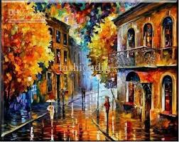 decorative artwork for homes oil painting raining city night scenery old building classic home