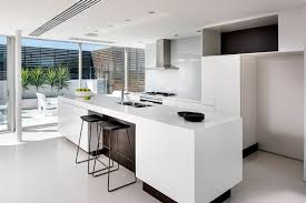 White Corian Contemporary Kitchen Design Using Large Island And White Corian