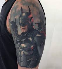 realism style colored very detailed cool looking batman tattoo on