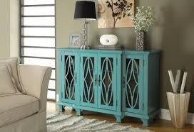 Blue Console Table Coaster 950245 Teal Blue Finish Wood And Detailed Carvings Panel