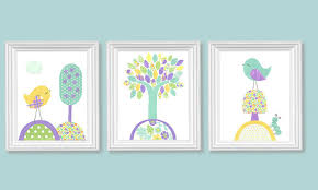 Nursery Bird Decor Bird Nursery Aqua Purple Yellow S Room Decor
