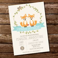 woodland twin baby shower invitation for a boy or instantly