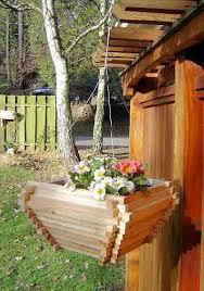 hanging planter basket cedar wood hanging basket