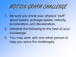 Challenge Physics Motion Graph Challenge 1 Be Sure You Your Physics Stuff